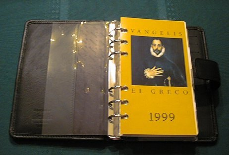 Opened filofax with custom El Greco title page