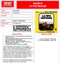 La Fete Sauvage UK Remaster CD Press Sheet
