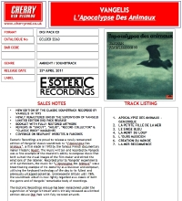 L'apocalypse des Animaux UK Remaster CD Press Sheet
